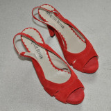 Noi! Sandale de piele intoarsa rosii, superbe, toc inalt, Jonquille, femei marimea 40