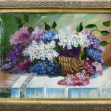 Tablou, Natura statica, Ulei, Altul - B. Angheluta - Cos cu liliac