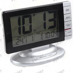 Ceas electronic cu alarma, termometru, iluminare automata - 110941