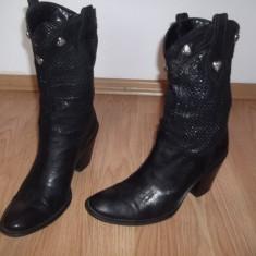 Cizme/botine Cost -Italia din piele naturala - Cizme dama, Marime: 38, Culoare: Negru, Negru