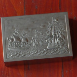 Cutie - Tabachera  din tabla si lemn pentru tigari sau trabuc - peisaj marin