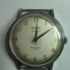 Ceas de mana - CEAS - ROMOX - VINTAGE - MODEL ANII 1960 - 70 - 17 RUBINE - INCABLOC - STARE DE FUNCTIONARE - DIAMETRUL 33 MM