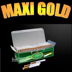 Foite tigari - Tuburi MAXI GOLD - 200 tuburi pentru injectat tutun, filtre tigari