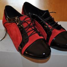 Pantofi casual din piele intoarsa - Pantof dama, Marime: 35, Culoare: Rosu, Rosu