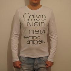 Bluza Calvin Klein 100% originala - Bluza barbati Calvin Klein, Culoare: Alb, La baza gatului, Bumbac