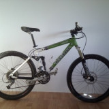 "Bicicleta Kona Lisa Ds fullsuspension cadru marime 17"", cursa 100mm, Furca Marzzochi, soc Fox Float 100mm - Mountain Bike, 26 inch, Numar viteze: 27, Aluminiu, Verde"