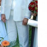 Costum de mire - Costum barbati, Marime: 50, Culoare: Alb, 3 nasturi, Marime sacou: 50, Normal