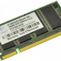 Memorie RAM laptop Nanya, DDR, 256 MB - Memorie laptop 256MB DDR1 266 MHz (PC2100) Nanya NT256D64SH8BAGM-75B, SODIMM 200 pini