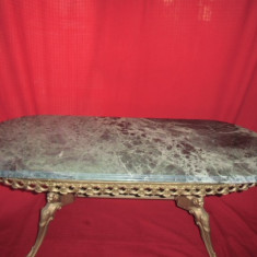 Masa ovala din bronz cu blat din onix 116x46x48 cm nr 3 - Mobilier