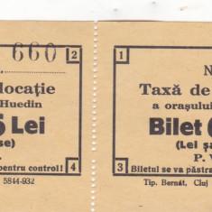 Taxa de locatie a orasului Huedin Bilet 6 Lei necirculata