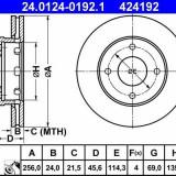 Discuri frana - Disc frana MITSUBISHI COLT VII 1.5 - ATE 24.0124-0192.1