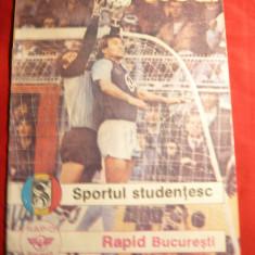 Program Fotbal -Meciul Sportul Studentesc - Rapid Bucuresti, aug. 1988 - Program meci