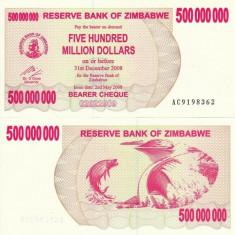 ZIMBABWE 500.000.000 dollars BEARER CHEQUE 2008 UNC!!! - bancnota africa