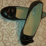 Pantofi dama, piele int-ext, talpa joasa, negri, Piele naturala, Negru