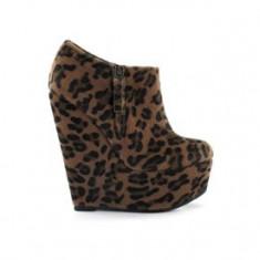 Botine dama, Marime: 39, Textil, Maro - Botine Platforma Nelly Shoes Leopard