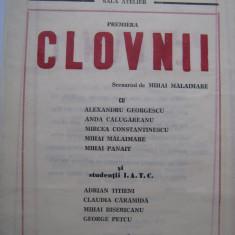 Carte de arta - Program de teatru / Teatrul National Bucuresti anii 80 - Clovnii cu Alexandru Georgescu, Anda Calugareanu, Mihai Malaimare, Mihai Panait, etc