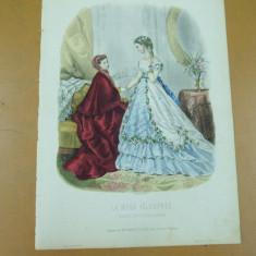 Revista moda - Moda costum rochie palarie evantai bijuterii gravura color La mode ilustree Paris 1868