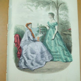 Moda costum palarie rochie evantai gravura color La mode illustree Paris 1867 - Revista moda
