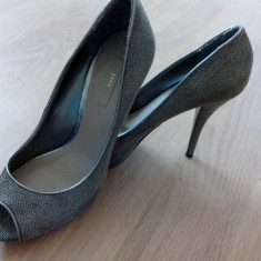 Pantofi dama zara de piele - Pantof dama Zara, Marime: 40, Culoare: Argintiu, Argintiu