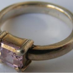 Inel argint - Inel vechi din argint cu piatra alba (5) - de colectie