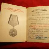 Ordin/ Decoratie, Europa - Brevet pt. Medalia 20 Ani de la Victoria impotriva Fascismului 1965 URSS