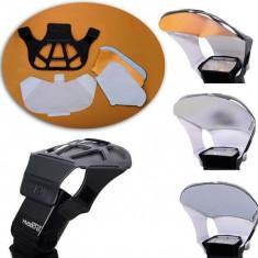 Flash Reflector Bounce Difuser Card cu 3 fete interschimbabile pentru blitz flash extern. - Bounce Diffuser Blitz Alta