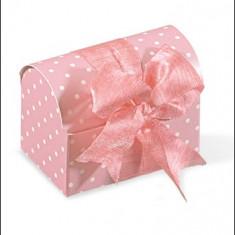 Marturii nunta / botez cufar roz cu buline albe - Marturii botez