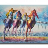 Cursa hipica 2 (tablou 90x60cm) LIVRARE GRATUITA 24-48h, An: 2011, Scene gen, Ulei, Altul