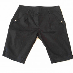 PANTALON SCURT DAMA NEGRU - Pantaloni dama Made in Italia, Marime: S, Scurti, Bumbac