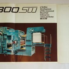 Pliant / reclama romaneasca Masina de tiparit Victoria 1300 SW - Poligraph Export, anii ' 60 (in limba engleza)
