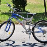 Bicicleta Mountain Bike Nespecificat - DHS Matrix, 26 inch, Numar viteze: 21, Otel, Gri-Albastru, MTB Full Suspension