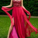 Rochie de seara, Marime: 36, Burgundy, Matase - Rochie Eleganta model unicat