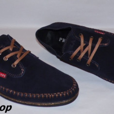 Pantofi PRADA 100% Piele Intoarsa Naturala - Model NOU - Bleumarin / Negru !!! - Pantofi barbati Prada, Marime: 42, 43, 44, Piele naturala