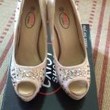 Pantofi dama, Marime: 36, Bej - Pantofi platforma