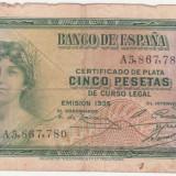 (10) BANCNOTA SPANIA - 5 PESETAS 1935