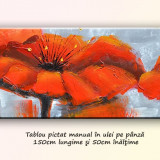 Tablou living, dormitor - Deco poppies 1 - ulei in cutit 150x50cm, livrare gratuita in 24h