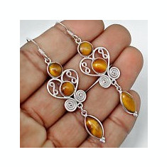 CERCEI DAMA ARGINT 925 LUNGI CU PIETRE NATURALE OCHI DE TIGRU (INDIA) - Cercei argint