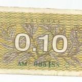 LL bancnota Lituania 0.10 talonas 1991 (#5488) VF
