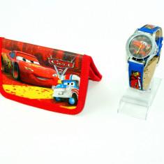 Ceas copii Disney - Set ceas de mana si portofel Cars - Fulger McQueen