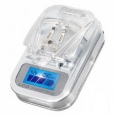 Incarcator Universal pentru baterii telefon camera foto- mufa USB cu display LCD Anymode, De masina