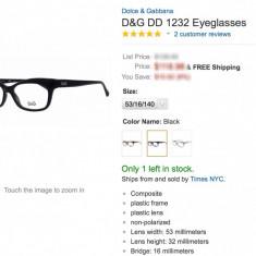 Rama Cat Eye DG 1232 501 53-16-140 - Rama ochelari D&G