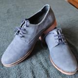 Pantofi Zara Marimea 42 Piele Intoarsa Albastrii - Pantofi barbati