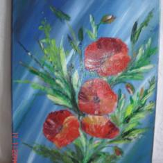 Tablou-Flori roz-rosii pe fond albastru, Altul, Altul