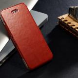 Husa piele + aluminiu IPhone 5, 5S,  maro roscat + CADOU Folie ecran si servetel