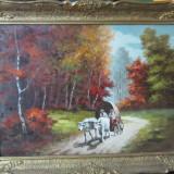 PICTURA CAR CU BOI SEMNAT NICOV - Pictor roman, Peisaje, Realism