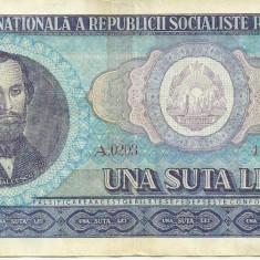 Bancnote Romanesti - ROMANIA- 100 LEI 1966- seria A 0203- 447821