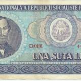 ROMANIA- 100 LEI 1966- seria D0191- 402732