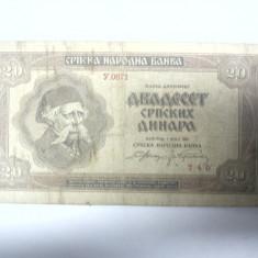 BANCNOTA - IUGOSLAVIA   - 20 DINARI 1941  (1 MAI)