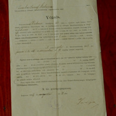 Document act vechi in Limba maghiara din Banat cu stampila Lugoj 1904 - Pasaport/Document