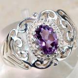 Inel Art Nouveau Style (Ag 925): AMETIST 2CT!!! - Inel argint